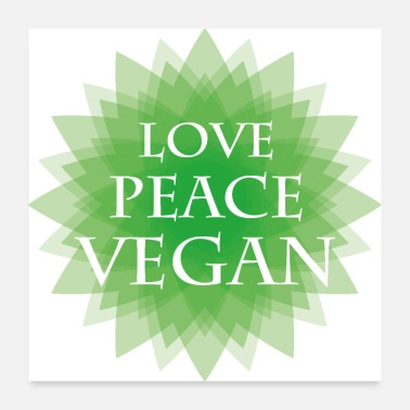 Mandala LOVE PEACE VEGAN green - Poster