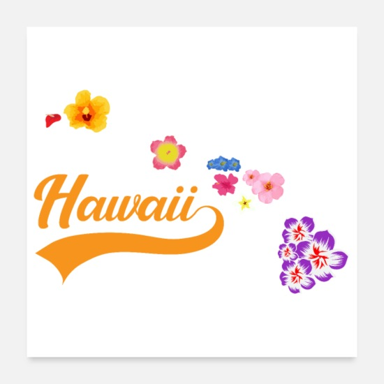 Surfa Postrar - Hawaii Islands Card med gåvaidé för blommasurfare - Postrar vit