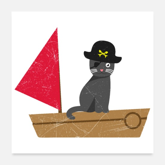 Gift Idea Posters - Cute pirate cat kids funny gift idea - Posters white