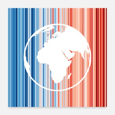 Global Climate change, warming stripes, earth - Poster