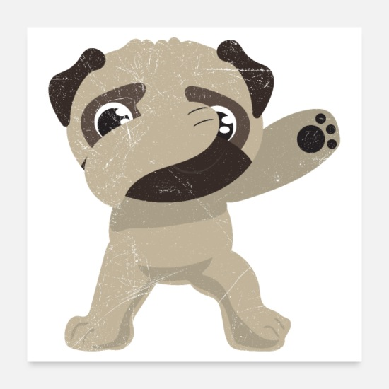 Birthday Posters - Dabbing Pug Dab dance lovers gift idea - Posters white