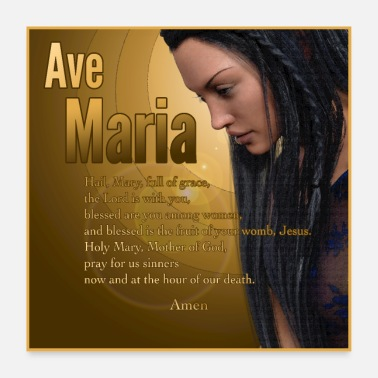 Madonna Hail Mary - Ave Maria - The prayer in English - Poster