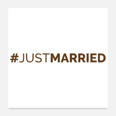 Engagement Just Married Wedding Hashtag Geek Brown Gift - Poster