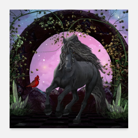 Running Posters - Wonderful black unicorn at night - Posters white