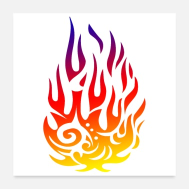 Tribal Tattoo Tribal tattoo flame fire gift idea - Poster