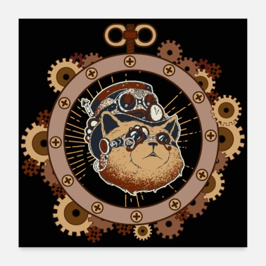 Science-fiction Steampunk Katze Science Fiction Mechanik - Poster