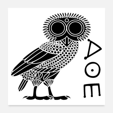Oeroude Owl of Athena [Black + Ethnicon] - Poster
