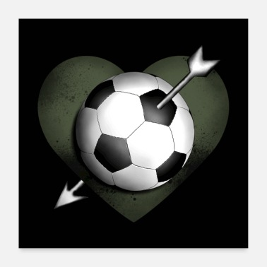 Soccer Soccer ball with heart and arrow - Poster