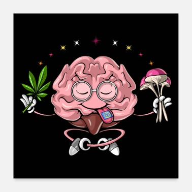 Pot Leaves Psychedelic Brain Stoner - Poster