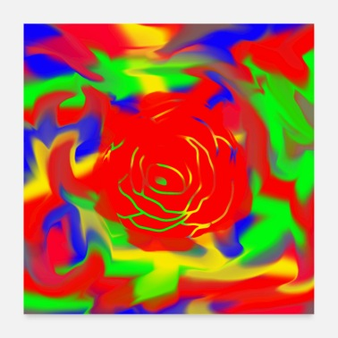 Colorful colorful rose - Poster