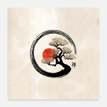Shodo Enso Circle and Bonsai Tree - Poster