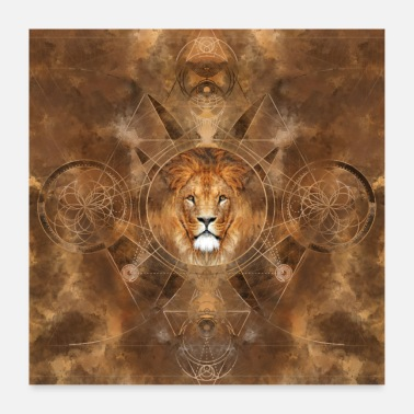 Geometry Lion Sacred Geometry - Poster
