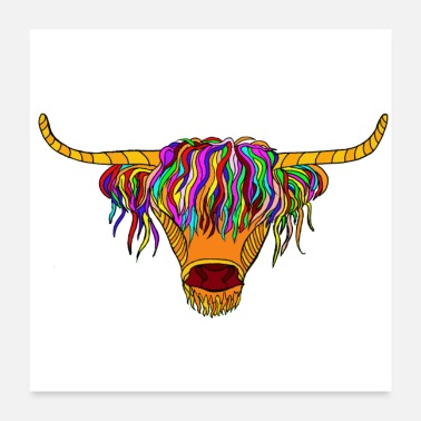 Mantel Hetty der Highland Cow Poster Square - Poster