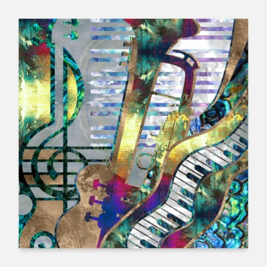 Music Abstract Music Art Collage - mixed media - Poster