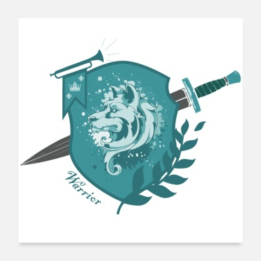 Warrior DogWarrior - Warrior - teal - Poster