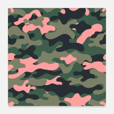 Girlie Girly green pink camo - Poster