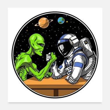 Planet Alien und Astronaut Arm Wrestling - Poster
