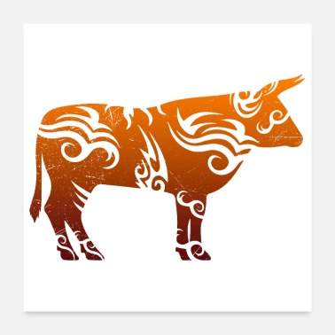 Tribal Tattoo Tribal tattoo bull cow gift idea - Poster