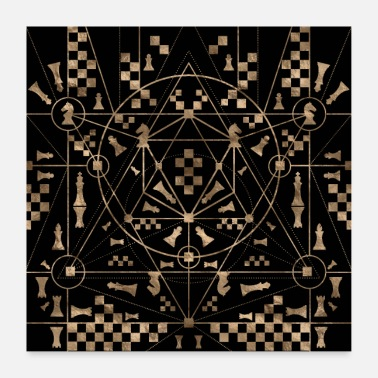 Ornament Sacred Geometry Ornament with Chess Pieces - Poster