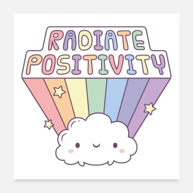 Radiation Radiate Positivity, Cute Cloud Beams Rainbow - Poster