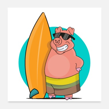 Sow Cool sow with surfboard - Poster