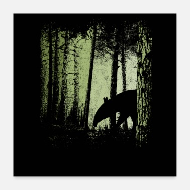 Tapir silhouette in | Twilight forest - Poster