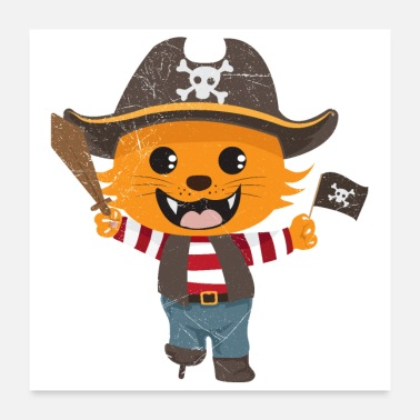 Caraïben Cat pirate cat Grappig cadeau-idee - Poster
