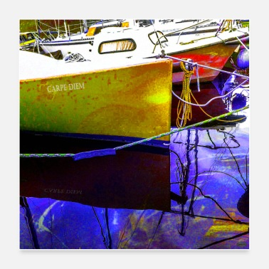 Name CARPE DIEM | Reflections of Boats Yellow / blue - Poster