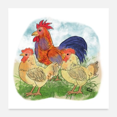 Stall T-shirt motif chickens with rooster chicken drawing animal - Poster