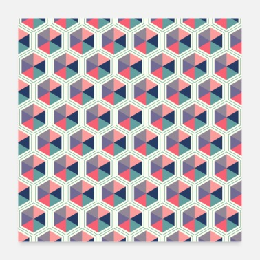 Shade Pastel Shades Hexagon Geometric Pattern - Poster
