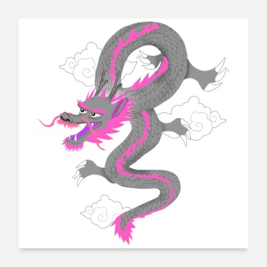 Chinois dragon rose - Poster