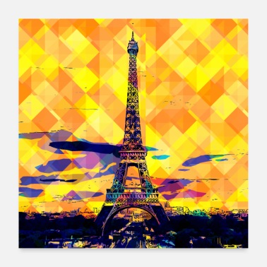 Quadrat Paris Eiffel Tower Pop Art France poster - Poster