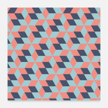 Quadrat Pattern Colorful Cubes - Pattern Cube - Poster