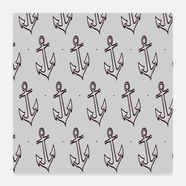 Sail Boat Boat anchor pattern sail boats anchor ship - Poster