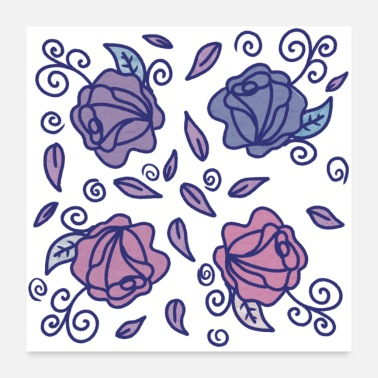 Stains Stained Glass Roses - Poster