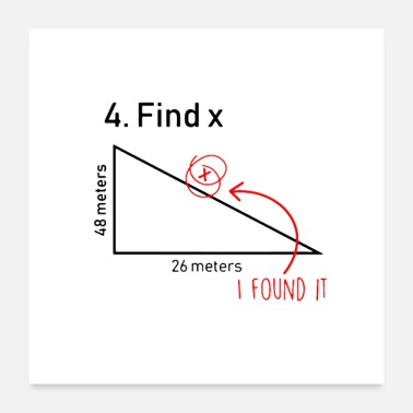Teacher Find X Funny Saying Math Teacher Graphic - Poster