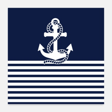 Navy Navy blue and white anchors - Poster