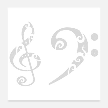 Bass Clef Bass clef treble clef musician gift idea - Poster