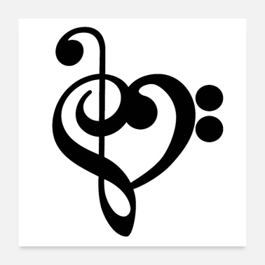 Ydeevne Music Treble Bass Clef Heart - Poster