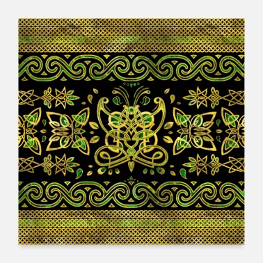 Celtic Celtic Butterfly Ornament - Grønt og gull - Poster