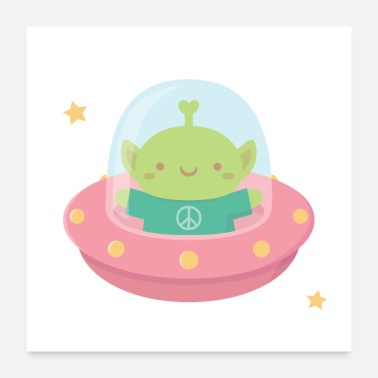Saucer Cute Green Alien In Pink Flying Saucer - Poster