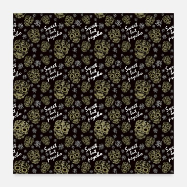 Cute But Psycho Pattern cute psycho skull rose cool saying - Poster