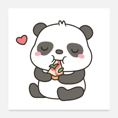 Panda Cub Cute Little Panda Eating Margherita Pizza - Poster