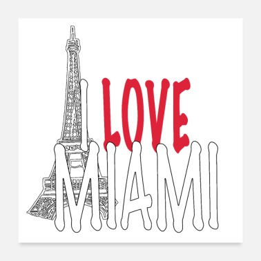 Geografi LOVE MIAMI -Funny Collection Eiffel Miami - Poster