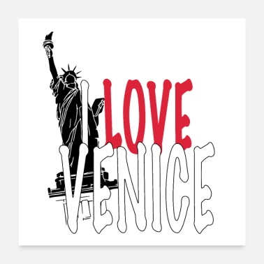Geografie I LOVE-VENICE -Funny Collection Liefde Liberty - Poster