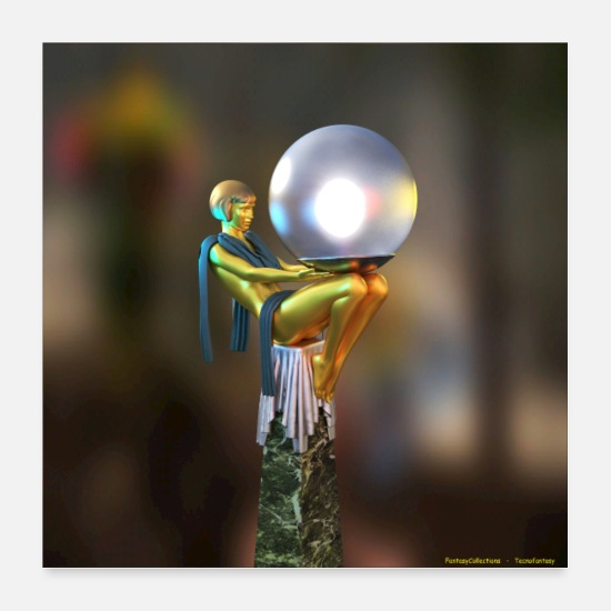 Gold Posters - STATUETTE OF WOMAN WITH BRIGHT GLOBE - Posters white