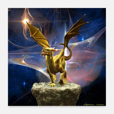 Drage GOLDEN DRAGON WITH ABSTRACT STARRY SKY - Poster