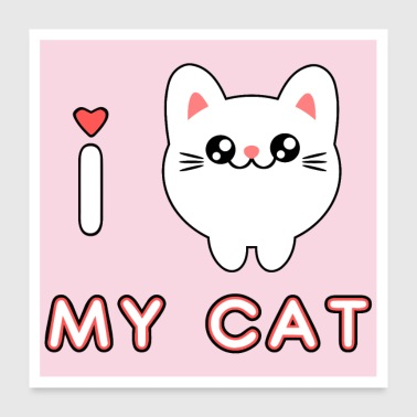Cute kawaii adorable cat kitten - Poster 24 x 24 (60x60 cm)