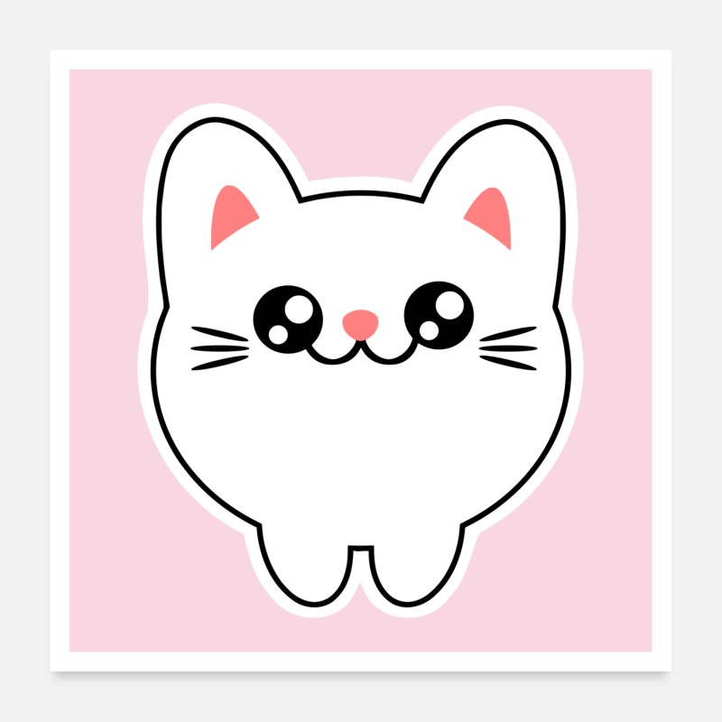 Meow Posters - Cute animals - Chibi Kawaii cat Kitten - Posters white