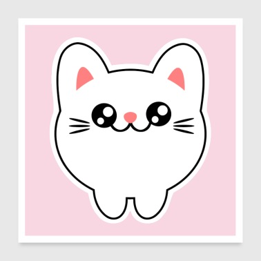 Cute animals - Chibi Kawaii cat Kitten - Poster 24 x 24 (60x60 cm)